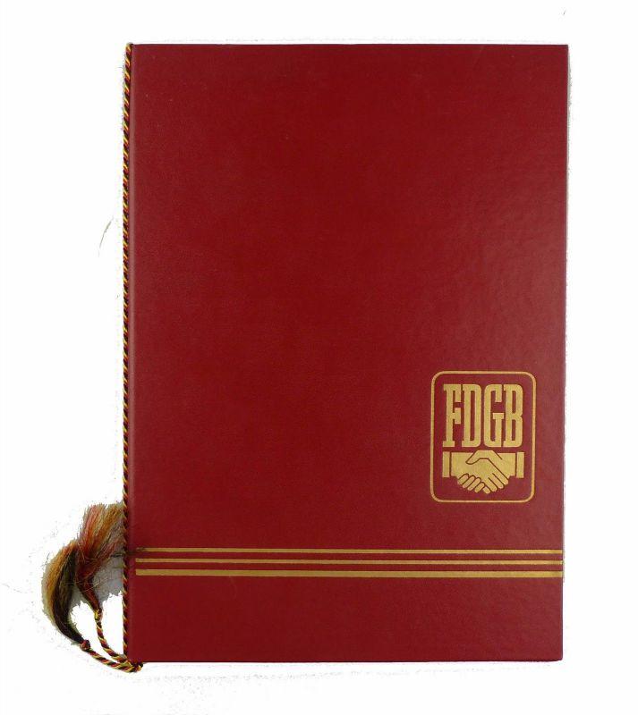 #e6615 Große alte Urkundenmappe mit 3 Urkunden FDGB von 1978 & 1984 & 1986