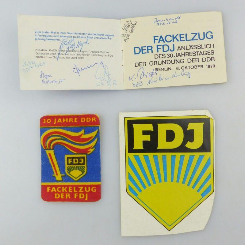 #e6943 Original altes Teilnehmerheft FDJ m. Unterschriften + Aufnäher + FDJ Bild