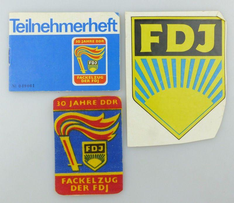 #e6943 Original altes Teilnehmerheft FDJ m. Unterschriften + Aufnäher + FDJ Bild 1