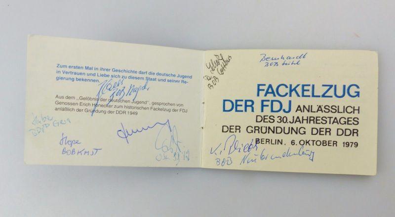 #e6943 Original altes Teilnehmerheft FDJ m. Unterschriften + Aufnäher + FDJ Bild 4