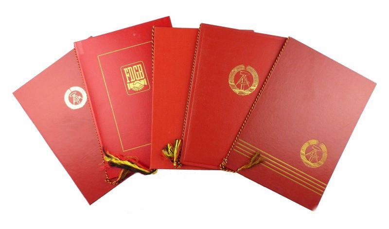 #e6605 5 große DDR Urkundenmappen rot FDGB