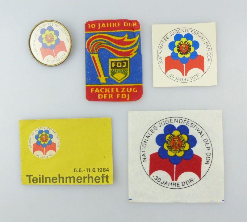 #e6941 Original alte DDR Aufnäher, 1 Aufkleber, 1 Teilnehmerheft, 1 Pin FDJ