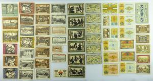 Verschiedene Serien Notgeld - 55 Scheine z.B. Genthin, Bitterfeld etc. e1011