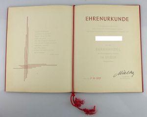 Urkunde: Ehrennadel Sportvereinigung Dynamo in Silber 1979 verliehen, Orden2805