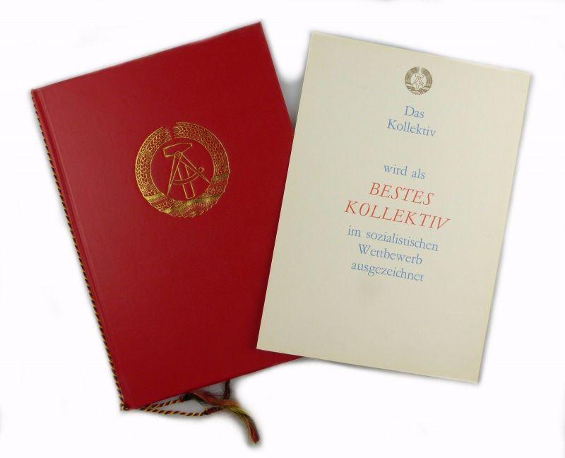 #e6597 Große DDR Blanko Urkunde mit Mappe