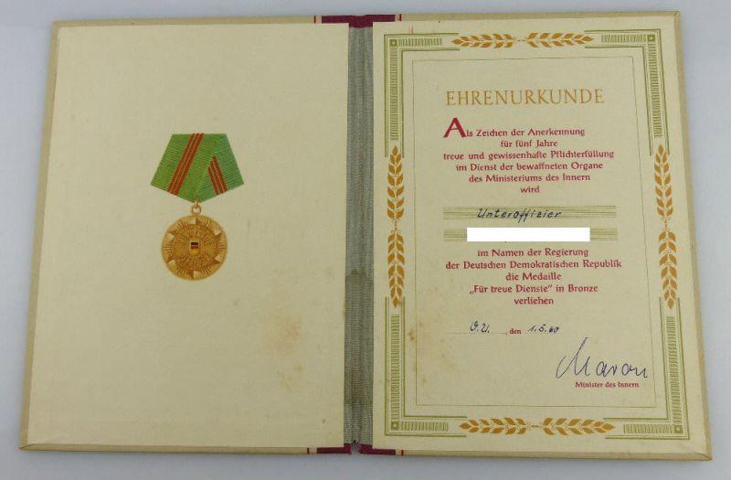 Urkunde: Medaille Treue Dienste in den bewaffneten Organen MdI 1960, Orden2795