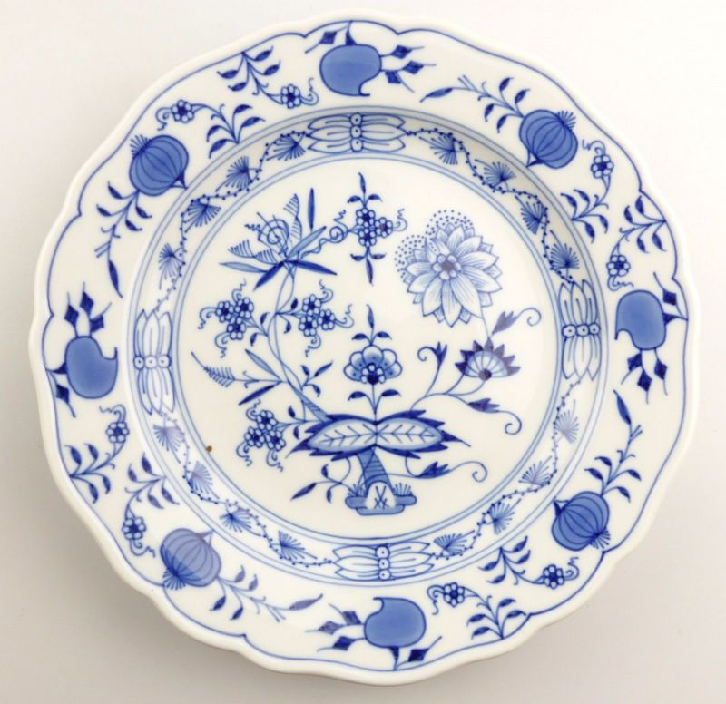 #e5479 Meissen Porzellan Abendbrotteller Teller Zwiebelmuster Fehlware Ø 18,2 cm
