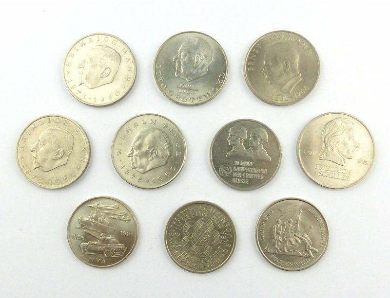 #e6285 10 DDR Gedenkmünzen 6 x 20 Mark und 4 x 10 Mark-Münze z.B. Kampfgruppen