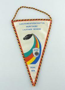 #e2883 DDR Wimpel: Europameisterschaft Wurftaube Laufende Scheibe Suhl 1978 GST