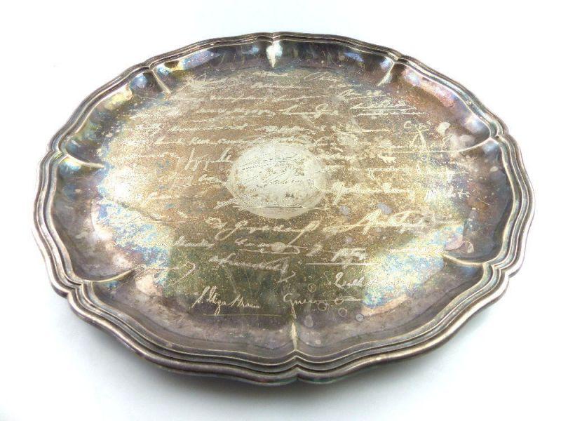 Tablett aus Botschafterhaushalt mit namenhaften Unterschriften 800 Silber e1366