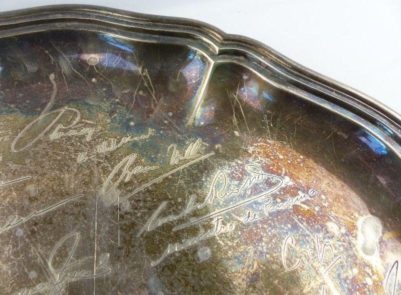 Tablett aus Botschafterhaushalt mit namenhaften Unterschriften 800 Silber e1366 6