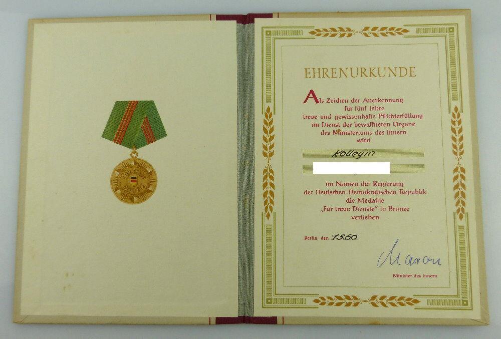 Urkunde: Medaille Treue Dienste in den bewaffneten Organen MdI 1960 Orden2793