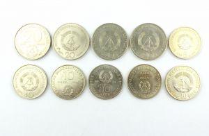 #e6284 DDR 10 Gedenkmünzen 4 x 20 Mark, 5 x 10 Mark, 1 x 5 Mark-Münze