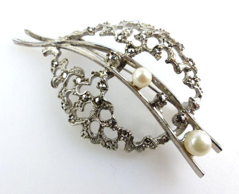 E2868 Schöne Alte Brosche Aus 835 Ag Silber Mit Perlen Und Steinen