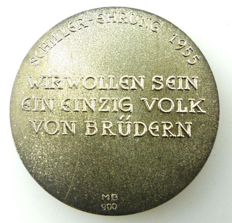Medaille Friedrich Schiller Ehrung 1955 In 900ag Silber Münze