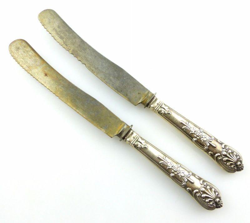#e5046 2 alte Gründerzeit Messer mit Griffen aus 800er Silber