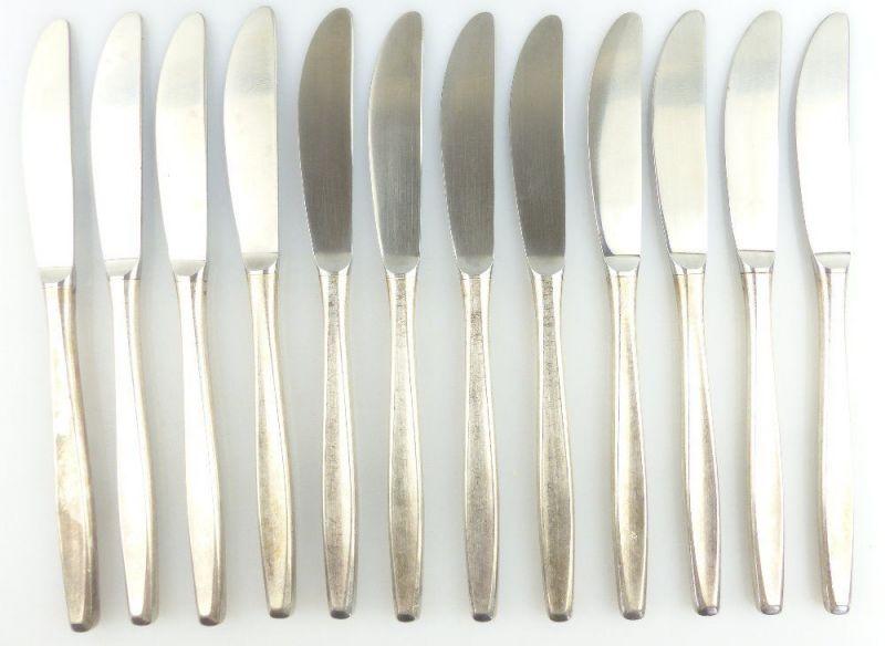 12 original alte Messer von Inox BSF in 90er Silberauflage e675