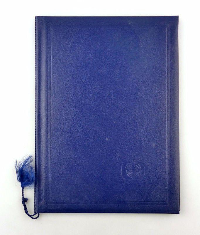 #e6572 Große blaue Urkundenmappe VDJ Verband der deutschen Journalisten der DDR