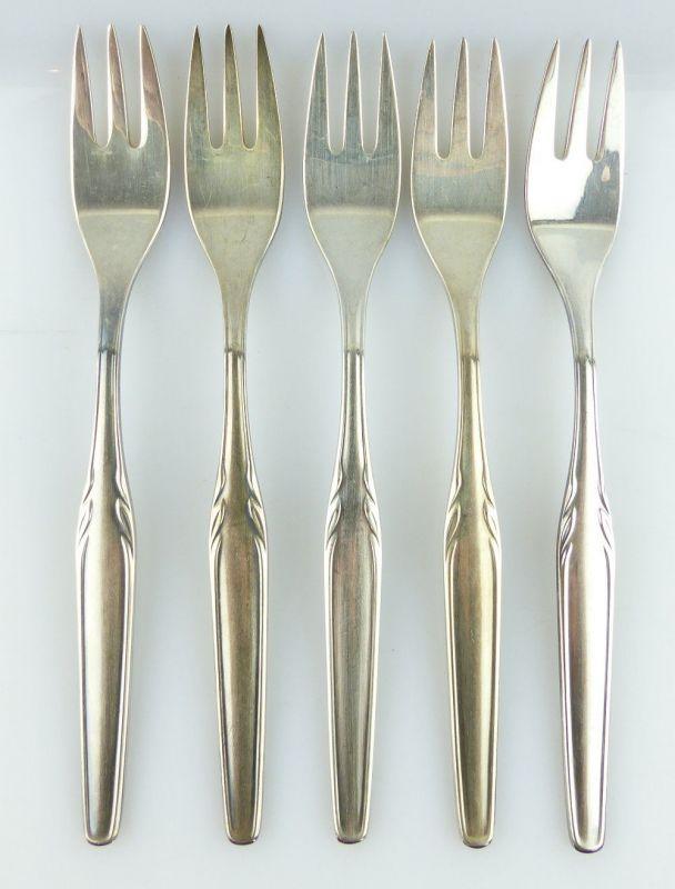 5 alte Kuchengabeln von WMF Model 3500 in 90er Silberauflage e669
