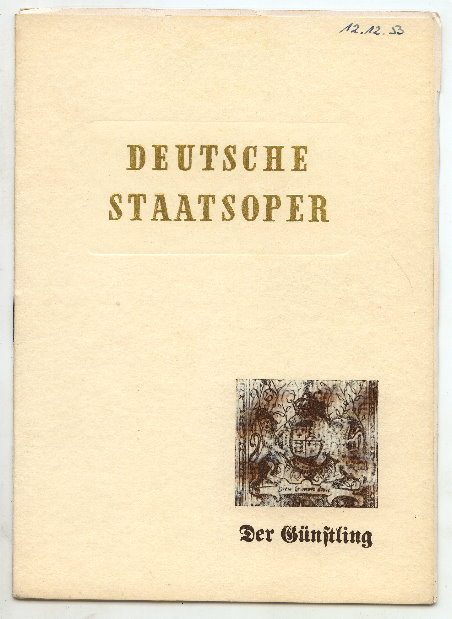 Opernheft: Deutsche Staatsoper, Der Günstling 1953