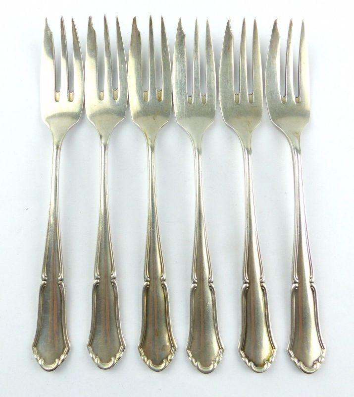 #e5860 6 wunderschöne Kuchengabeln aus 800 (Ag) Silber Halbmond & Krone Dt.