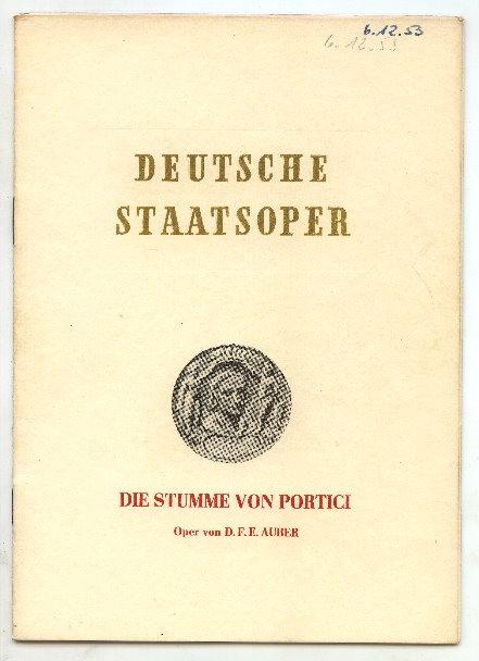 Opernheft: Deutsche Staatsoper, Stumme von Portici 1953