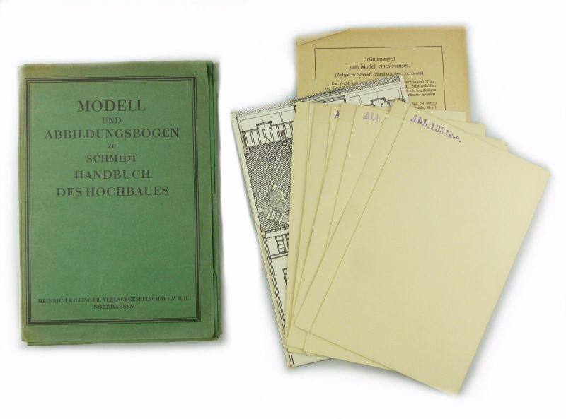 E7664 Modell und Abbildungsbogen zu Schmidt Handbuch des Hochbaues unvollständig
