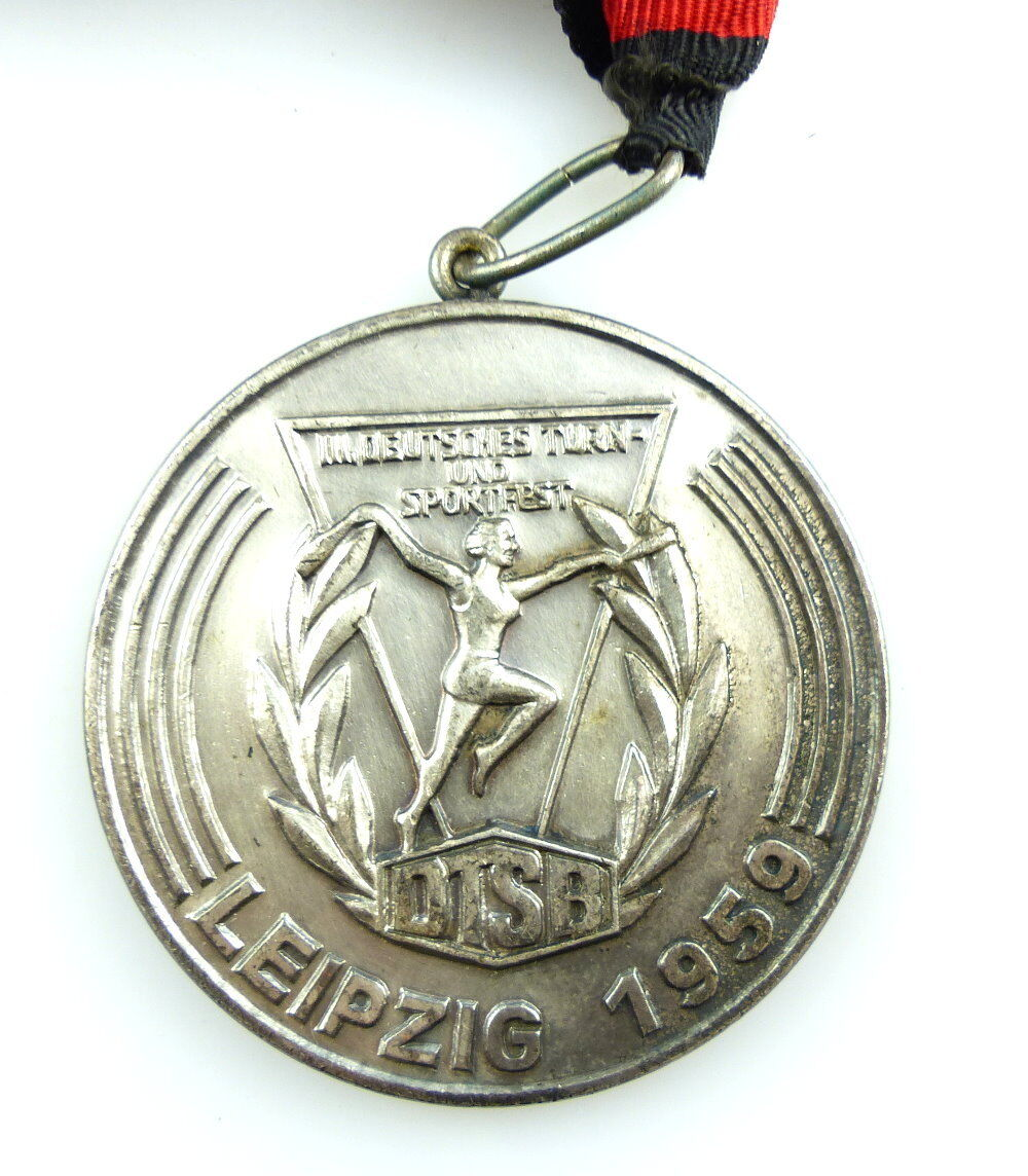 #e4068 DDR Medaille DTSB Leipzig 1959 3. Deutsches Turn - und Sportfest 2. Platz