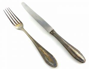 #e5853 2 teiliges Besteck Gabel und Messer aus 800er Silber Koch & Bergfeld