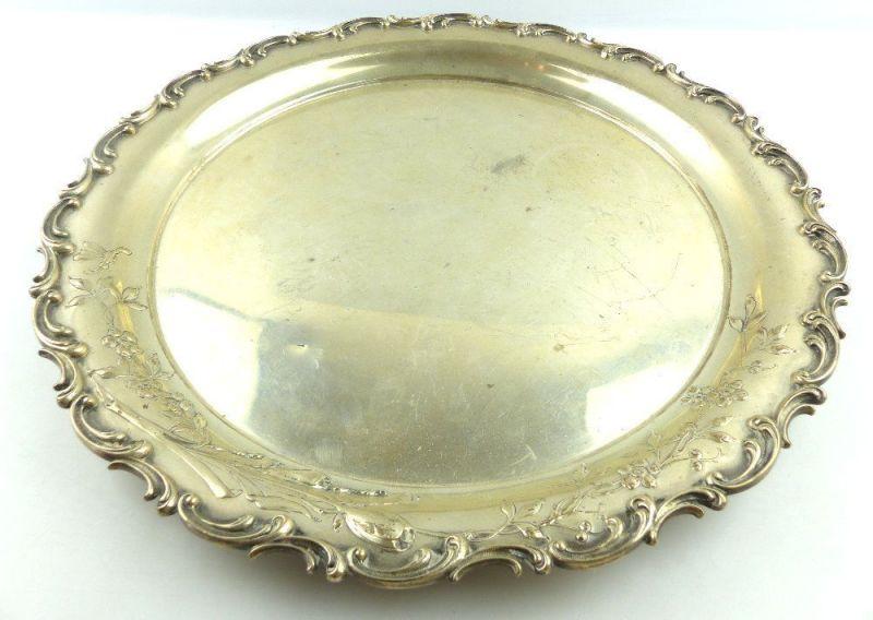 Dekoratives Jugendstil Tablett in 800 (Ag) Silber mit Blumendekor e1310