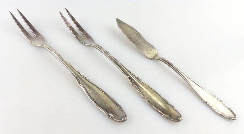 3 Vorleger in 100er /90er Silberauflage von WMF Fischvorleger Fleischgabel e619