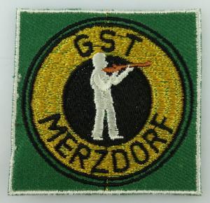 GST Abzeichen: GST Merzdorf, Aufnäher gestickt, ausgestanzt, besäumt, GST198
