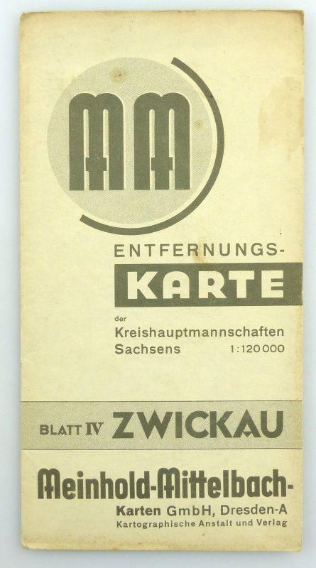 MM Entfernungskarte der Kreishauptstadtmannschaften Sachsens Zwickau e945