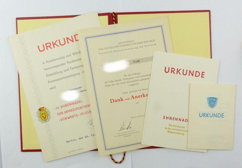 #e6871 3 Urkunden & 1 Dankesschreiben 70er / 80er Jahre ASV / DSV Ehrennadel