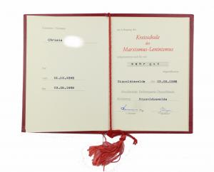 #e6870 DDR Urkunde Zeugnis SED Kreisschule Marxismus - Leninismus Dippoldiswalde