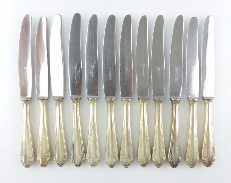 #e6531 12 alte Dessertmesser /Messer Griffe in 90er Silberauflage