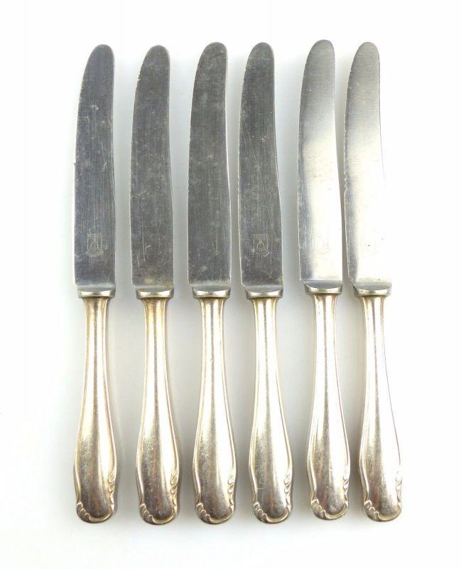 #e4971 6 alte Messer mit Griffen in 90er Silberauflage und rostfreien Klingen