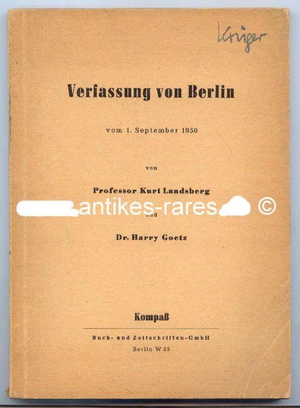 Verfassung von Berlin vom 1. September 1950 von Prof. Kurt Landsberg