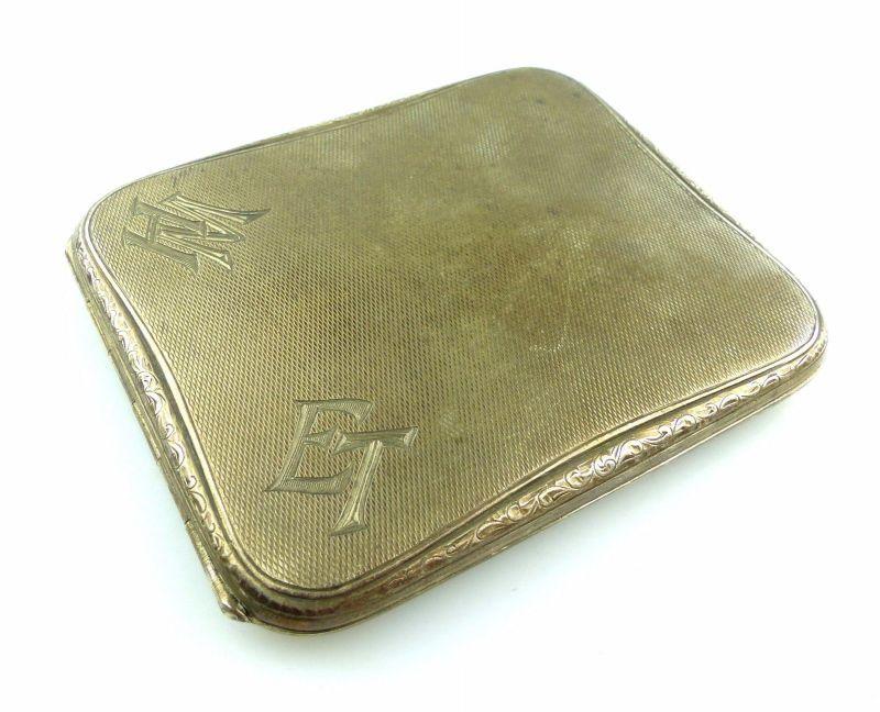 #e5404 Zigarettenetui / Etui aus 800 (Ag) Silber mit 2 Ziermonogramm WH & ET