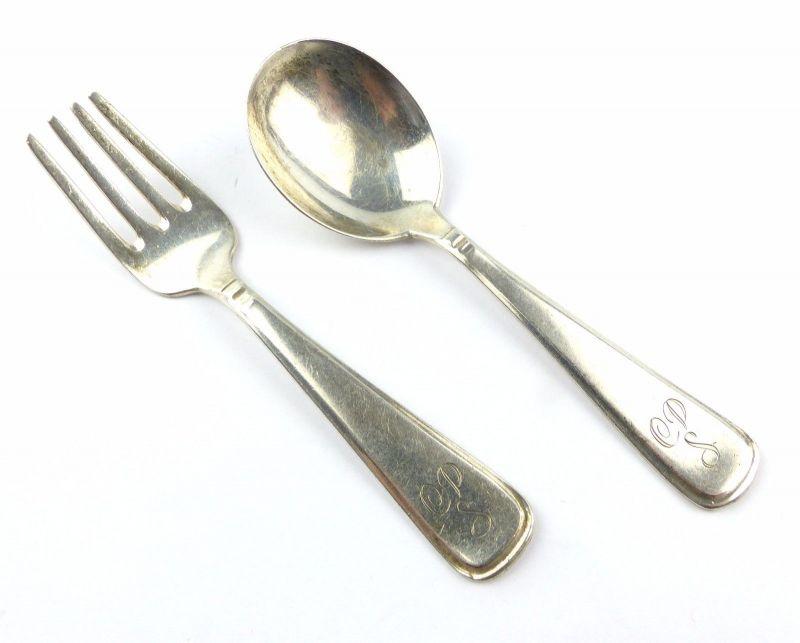 #e5821 Kleines Silber Besteck für Kinder aus 835 (Ag) Silber Löffel & Gabel