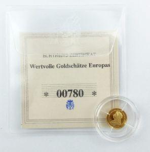 #e7259 Münze Wertvolle Goldschätze Europas Victoria I. Sover 585 Gold *00780*
