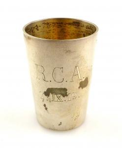 #e5814 Wodkabecher / Schnapsbecher 800 (Ag) Silber Ruderclub Allemannia von 1919