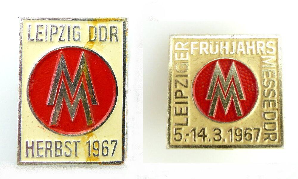 #e2443 2x Abzeichen DDR Frühjahr und Herbst MM Leipziger Messe