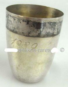 Alter Wodkabecher Schnapsbecher aus 800 Ag Silber Wilkens Gravur Jahreszahl 1989