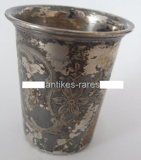 Alter Wodkabecher in 800 (Ag) Silber, Wilhelm Binder, norb782