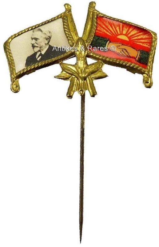 KPD - SPD patriotisches Sympathie Abzeichen August Bebel ca. 1910 (027KPD)