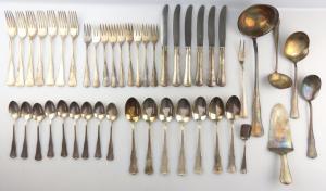 #e4949 Altes WMF Dessertbesteck Alt Barock 3700 45 Teile in 90er Silberauflage