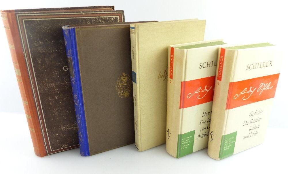 5 Bücher: Schiller Band 1+2, Heine-Novellen, Goethe, Das liebste Gedicht e1253