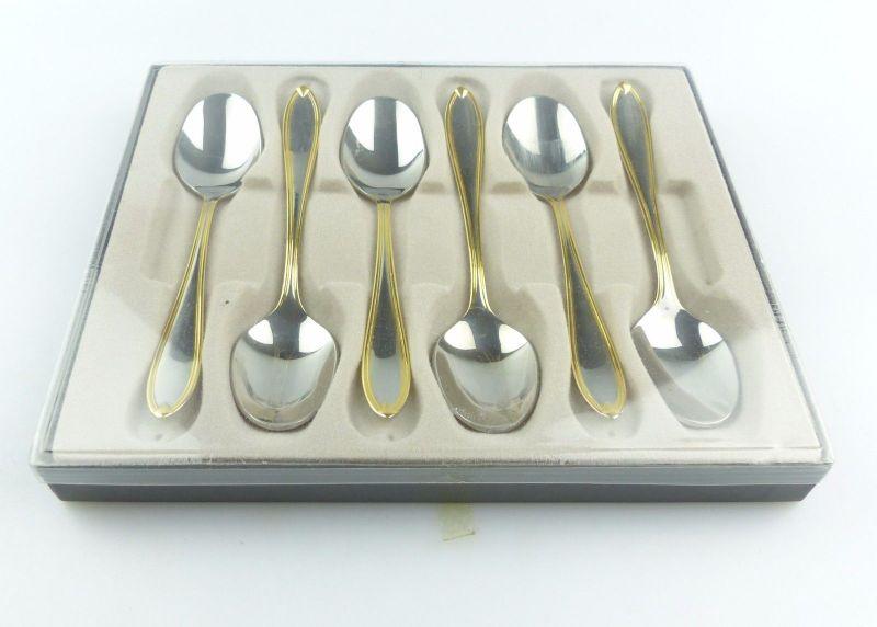#e4939 6 neuwertige Kaffeelöffel aus Edelstahl mit Goldkante im Etui Solingen