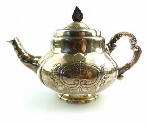 E4924 Kanne / Teekanne mit Deckel in 999er Silber Handarbeit Halbmond & Krone